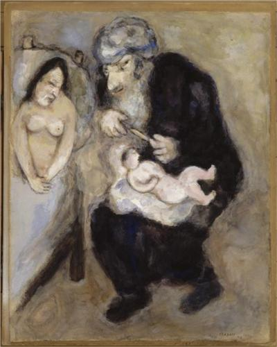 Circumcision prescribed by God to Abraham (Genesis, XVII, 10) - Marc Chagall