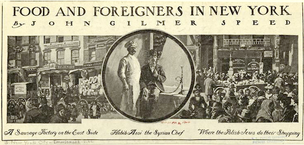 """Food and Foreigners of New York"", c. 1900, Harper's Weekly. Courtesy of New York Public Library"